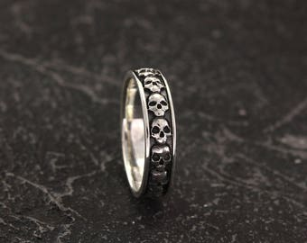 Skull wedding band Etsy