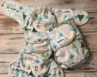 Triangle Geometric Print Hybrid Fitted Cloth Diaper Green Genes FDR OS Fold Down Rise One Size Organic Zorb
