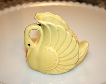 Yellow Swan Planter//Swan Toothpick Holder//Possibly Shawnee??//Vintage Pottery