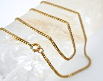 Gold Necklace 14k Yellow Gold Chain 16 inch Curb Chain
