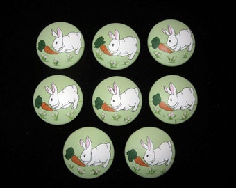 Set of 8 BUNNIES, Rabbits with Carrot -  Hand Painted Dresser Drawer Knobs in PASTEL GREEN