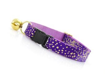"Modern Cat Collar - ""Callisto"" - Purple w/ Gold Dots - Breakaway Buckle or Non-Breakaway - Purple & Gold - Sizes for Cats + Small Dogs"