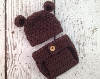 Baby Boy Hat, Diaper Cover, Bear Crochet Hat, Baby Bear Hat, Newborn Bear Hat, Photo shoot Prop, Baby Girl Hat, Crochet Bear Hat