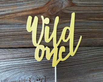 Wild One Cake Topper Glitter Cardstock Baby Shower Cake Decoration 1st First Party Children Kids Birthday Party Decoration New Mother Infant