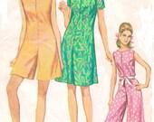 1960s Womens Mod Pantdress, Romper or Jumpsuit Simplicity Sewing Pattern 7139 Size 12 Bust 32 Mod Evening Jumpsuit