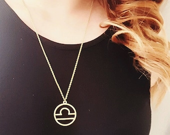 SALE HALF PRICE  Libra Starsign Pendant Zodiac Necklace Gold Silver Womens Gift Silver Libra Necklace Gifts for Women Libra Jewelry