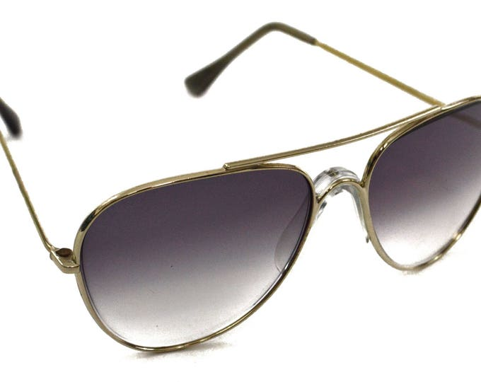 Vintage 70s Foster Grant Deadstock Gold Rimmed Aviator Shades Sunglasses with Nose Guard