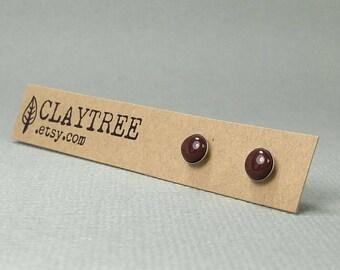 MOCHA Stud Earrings - Simple Dark Brown Studs - Polymer Clay - Hypoallergenic - Surgical Steel - Tiny Post Earrings - 4mm 5mm 6mm Circle