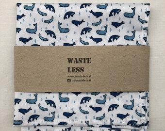 Handkerchief organic cotton with whale pattern -- pocket square hankie whale handkerchief