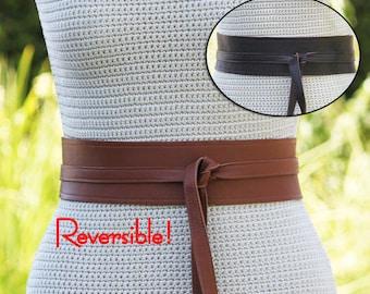 REVERSIBLE 2 Leather Colors Obi Wrap Belt - Cognac & Espresso Brown - cinch style, contrast stitching size XS S M L XL Petite and Plus Size