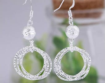 Jewelry #9-Silver Lucky Bead 5 Ring Embroidery looking Earrings