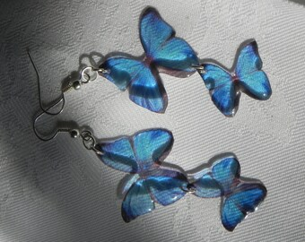Beautiful dangling Blue Morpho butterfly resin earrings