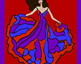 Instant download PRINT: Dancing Woman in flowing dress