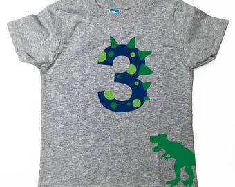 Custom Dinosaur Birthday Shirt with Name on Back Dino Birthday Shirt Grey T-SHIRT