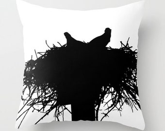 Bird Pillow Cover-Bird Silhouette Pillow-Black & White Accent Pillow-Minimalist Home Decor-Coastal Decor-Faux Suede Pillow-Osprey Pillow