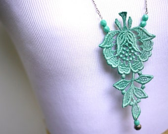 Lace Statement Necklace in Teal Mint Green