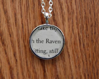 The Raven - Edgar Allan Poe Book Page Pendant Necklace - Literary Jewelry