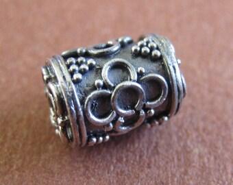 MS Barrel Beads (3) Wirework Flowers Granulation 11mm Bali Sterling Silver Fair Trade