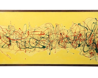 1972 Action Oil Painting on Canvas Abstract Expressionist Abstraction Art