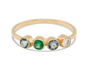 4 Genuine Gemstones Ring Bezel Set - Solid Gold Ring - Stacking Ring - Birthstone Ring Gift for Mom - Promise Ring for Her