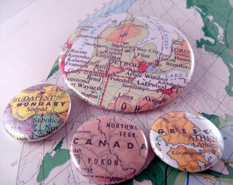 Custom U.S. or International City State Country Map Pins (3) One Inch and (1) 2 1/4 Inch Backpack Button Pin