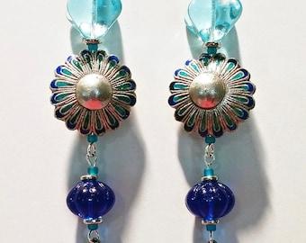 Blue Sea Earrings, statement earrings, dangle earrings, long earrings, gift for her, silver earrings, bohemian, mothers day, gift for women