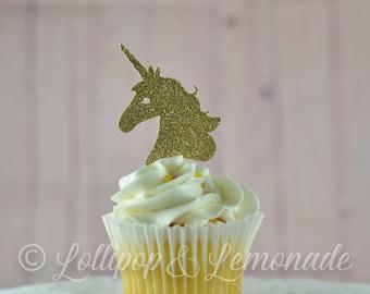 Glitter gold unicorn cupcake toppers, 1 dozen