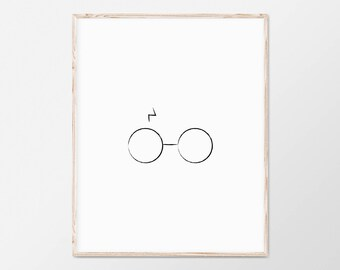 Harry Potter Print, Harry Potter Poster, Harry Potter Art, Harry Potter Gift, Harry Potter Decor, Harry Potter Artwork, Harry Potter Glasses