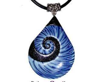Blue water drop pendant