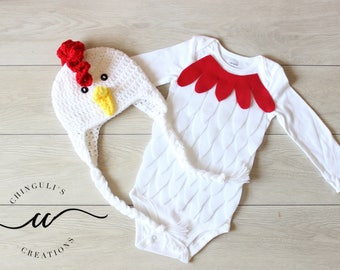 Baby Rooster Costume Baby Rooster Bodysuit and Crochet Rooster Hat