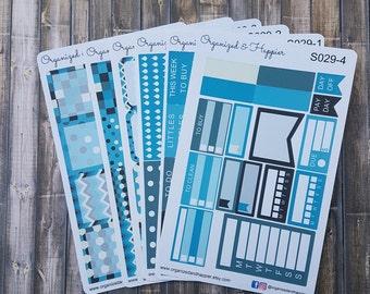 Weekly Personal Sticker Full Kit Erin Condren Planner headers boxes checklist tracker washi flags vertical matte paper #S029-Winter