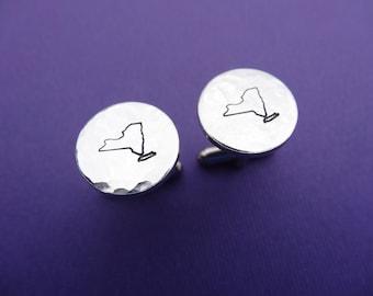 New York Cufflinks - State Cufflinks - Personalized Hand stamped aluminum cuff links