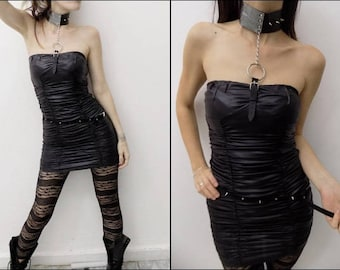 Wet Look Goth Dress with Leather Choker/Leather Silver and Black Choker with Spikes/Goth Dark Punk Wet Look Dress/Goth Dress
