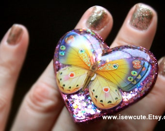 Big Bold Butterfly Heart Ring, Glitter Ring, Sparkly Boho Butterfly Ring, Pink Yellow Blue Ring, Statement Ring, Bohemian Summer Jewelry