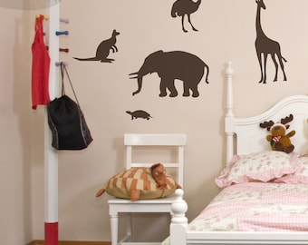 Zoo Animals - Set of 5 - Wall Vinyl Decals - Elephant, Kangaroo, Turtle, Ostrich & Giraffe