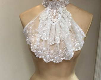 Vintage lavish mesh lace ruffled detachable collar, Edwardian look white ruffled lace collar, detachable bib lace ruffle collar