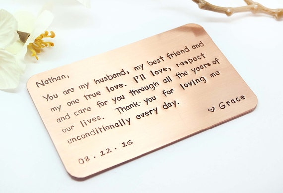 7 Year Wedding Anniversary Gift Ideas For Him: Copper Wallet Insert Card Custom Hand Stamped Wallet Insert