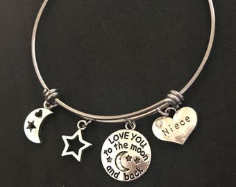 Love you to the Moon and Back Niece Bangle Niece Bracelet Niece Jewelry