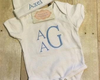 Monogrammed Onesie and Hat, Monogrammed Baby Boy set, Onesie and Hat Set