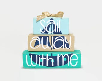 Sailboat Sail Away With Me Beach WoodenBlock Shelf Sitter Stack