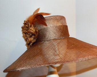 Kentucky Derby Sinamay Hat in rich Latte  brown colored Sinamay