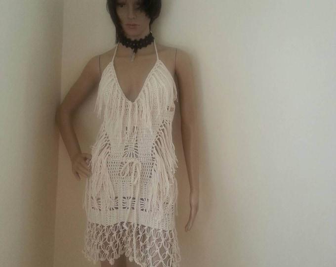 Crochet monokini,  off white Crochet dress, Fringe monokini halter,  beach cover up, resort wear, party, gypsy, salsa dancing, customized