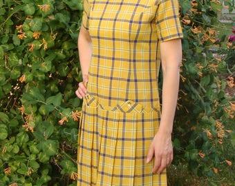 1960's PLAID DROPWAIST DRESS yellow navy plaid S 60's mod (D1)