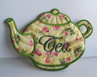 Large kitchen mat teapot coaster appliqued with pink roses