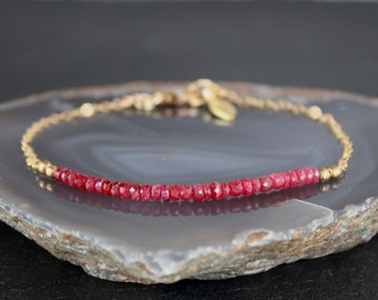 Ruby bracelet, All Natural Longido Ruby Bracelet, July Birthstone, Dainty Gemstone Beaded Bracelet, Anklet, Skinny Ruby Anklet, Minimalistic