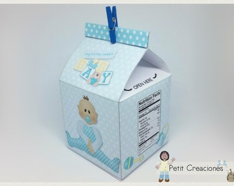 """PRINTABLE MILK Carton """"Baby Boy"""" DIY, gift idea, placeholders, favor box, treat box, gift box for party or Baby Shower"""