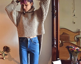 Hand Knit Sweater Oversized Sweater. Asymmetrical Chunky Sweater. Turtleneck Sweater. Cropped Sweater