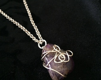 Silver-wrapped Amethyst Pendant & Chain