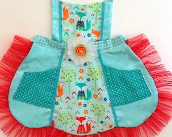 Girls Foxy Apron, Fox apron, dress up, costume