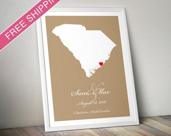 Personalized South Carolina Wedding Gift : Custom Location and Map Print - Housewarming Gift - Wedding Guest Book Poster